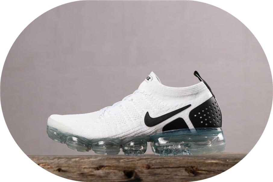 Nike Air VaporMax FLYKNIT 2耐克全掌气垫2.0白黑纯原带半码 百搭慢跑鞋 货号:942842-103