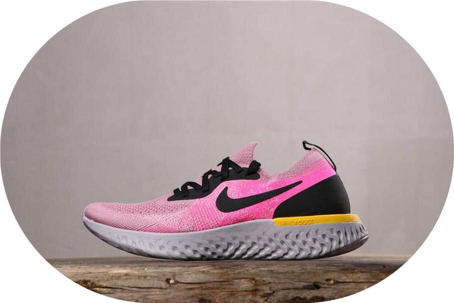 Nike Epic React Flyknit耐克瑞亚粉黑金公司级带半码 正宗泡棉底 货号:AQ0070-500