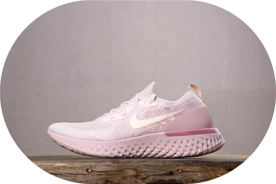 Nike Epic React Flyknit耐克瑞亚编织鞋粉色公司级带半码 中底双重校对 货号:AQ0067-600