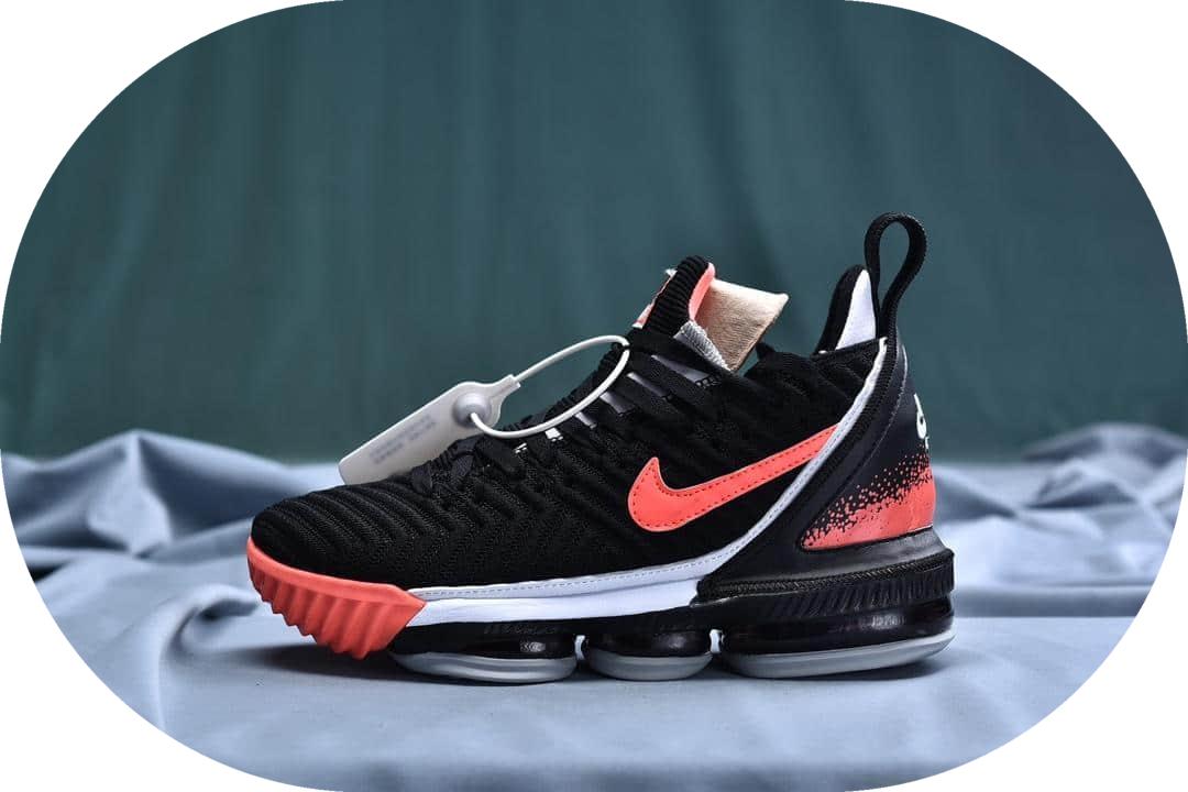 """耐克Nike LeBron XVI EP 16 LBJ""""Black Hit Lava-Flt""""詹姆斯16代签名战靴室内实战中帮篮球鞋黑白荧光火云红纯原版本 货号:CI1521-001"""