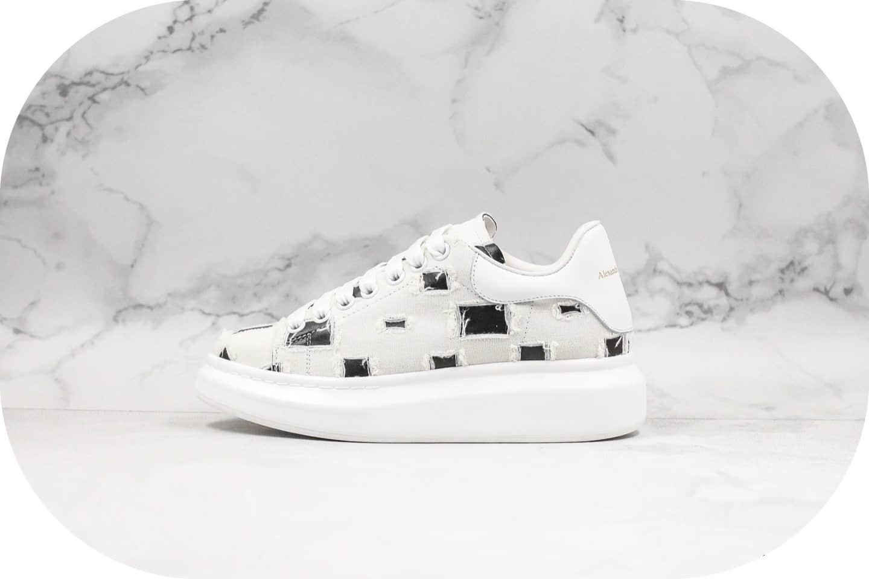 麦昆Alexander McQueen牛仔裤破洞系列纯原版本麦昆牛仔皮破洞休闲小白鞋2019官网最新款