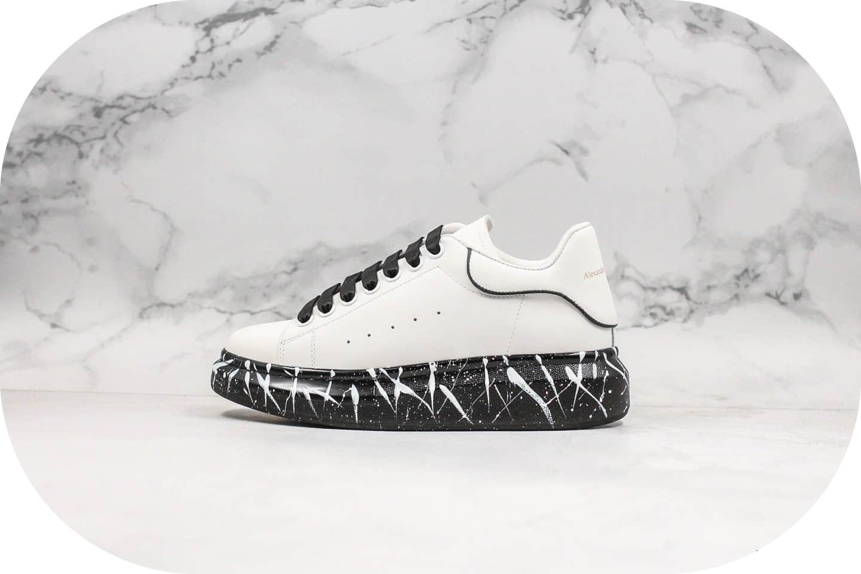 麦昆Alexander Mcqueen彩绘黑白泼墨全新纯原版本材料升级全头层皮打造原鞋一比一开模