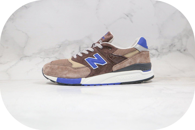 新百伦New Balance 998纯原版本复古老爹鞋NB998棕蓝色原盒原标原楦头纸板打造 货号:M998SBA