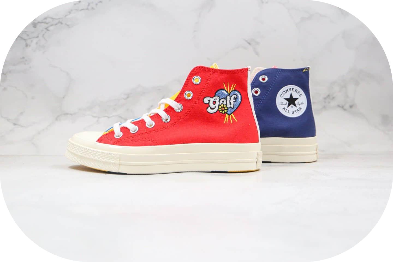 匡威Converse Chuck 70 x GOLF le FLEUR公司级版本高帮小花彩虹色帆布鞋原盒原标 货号:169910C