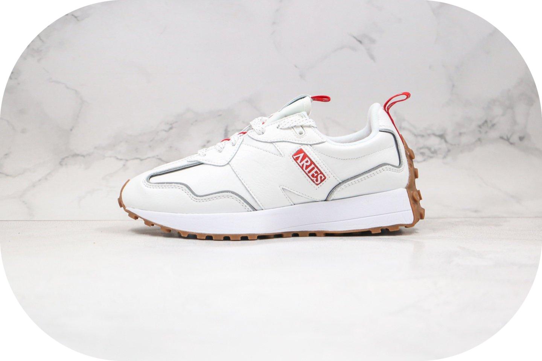 新百伦New Balance 327纯原版本皮面复古慢跑鞋NB327白灰红色3M反光满天星原盒原标 货号:MS327ARI