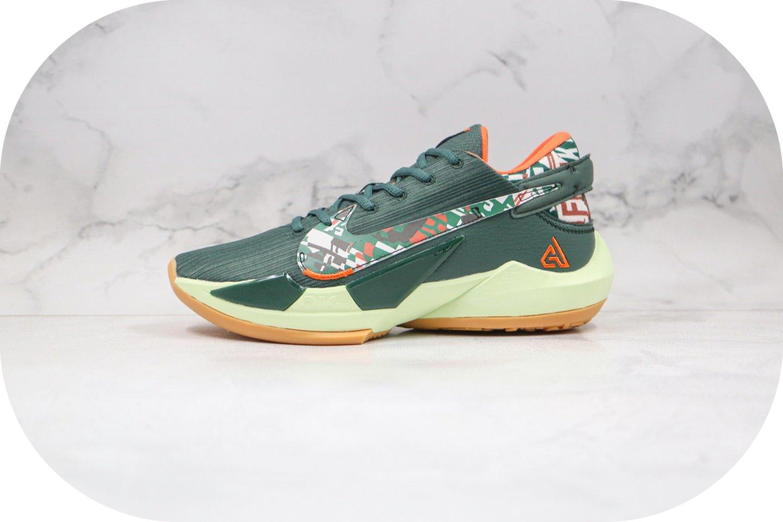 耐克Nike Zoom Freak 2纯原版本字母哥二代篮球鞋绿橙色内置气垫支持实战 货号:CK5424-301封面