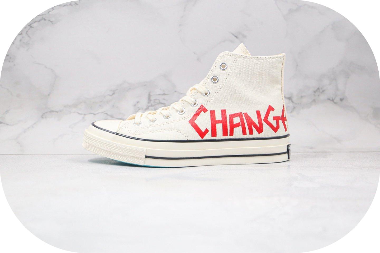 匡威Converse Chuck 70公司级版本高帮帆布鞋字母涂鸦白红色原档案数据开发 货号:169765C