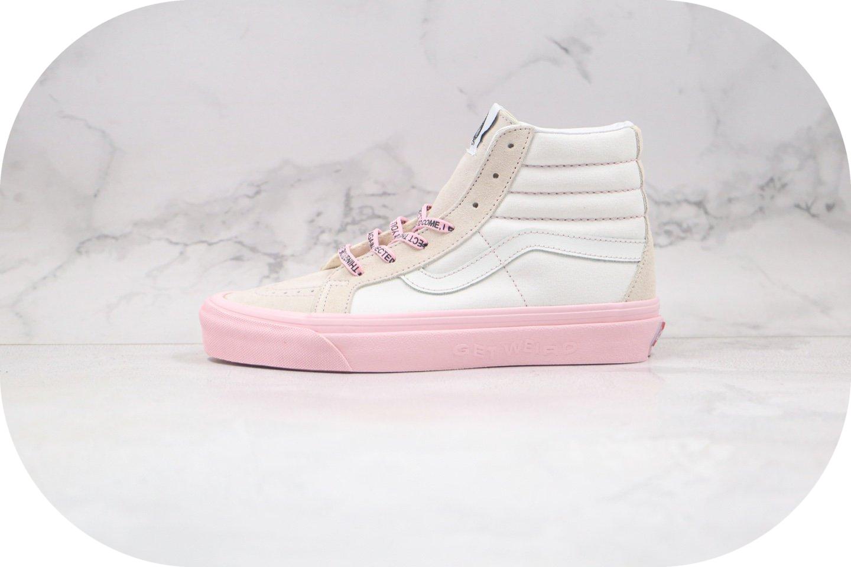 万斯Vans GETWEIRD Sk8 Hi X Anti Social Social Club XX DSM ASSC三方联名款公司级版本高帮白粉色硫化板鞋内置钢印原盒原标