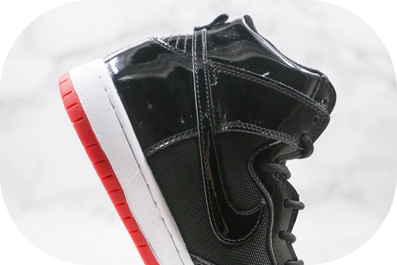 耐克Nike Dunk SB High纯原版本高帮SB DUNK漆皮黑红色板鞋内置Zoom气垫 货号:AJ7730-001