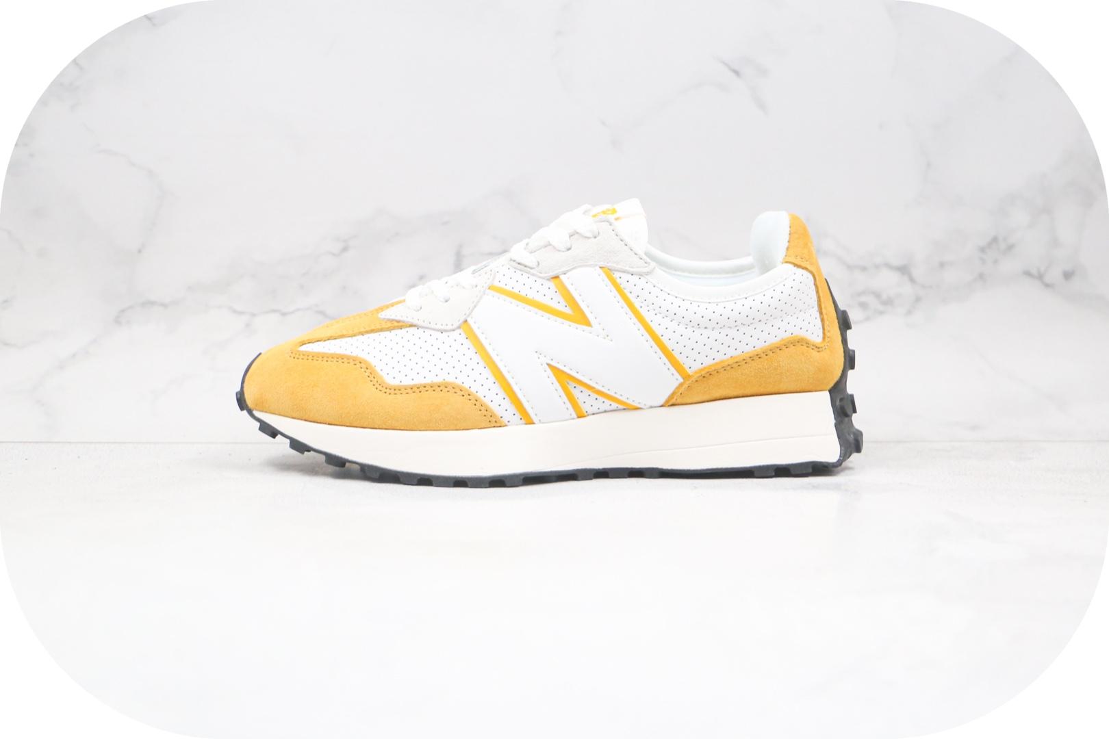 新百伦New Balance 327纯原版本复古慢跑鞋NB327白黄色原楦头纸板打造原盒原标 货号:MS327PG