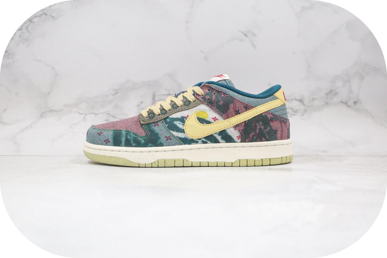 耐克Nike SB Dunk Low Lemon Wash纯原版本低帮SB DUNK扎染印花拼色水洗丹宁板鞋原档案数据开发原盒原标 货号:CZ9747-900