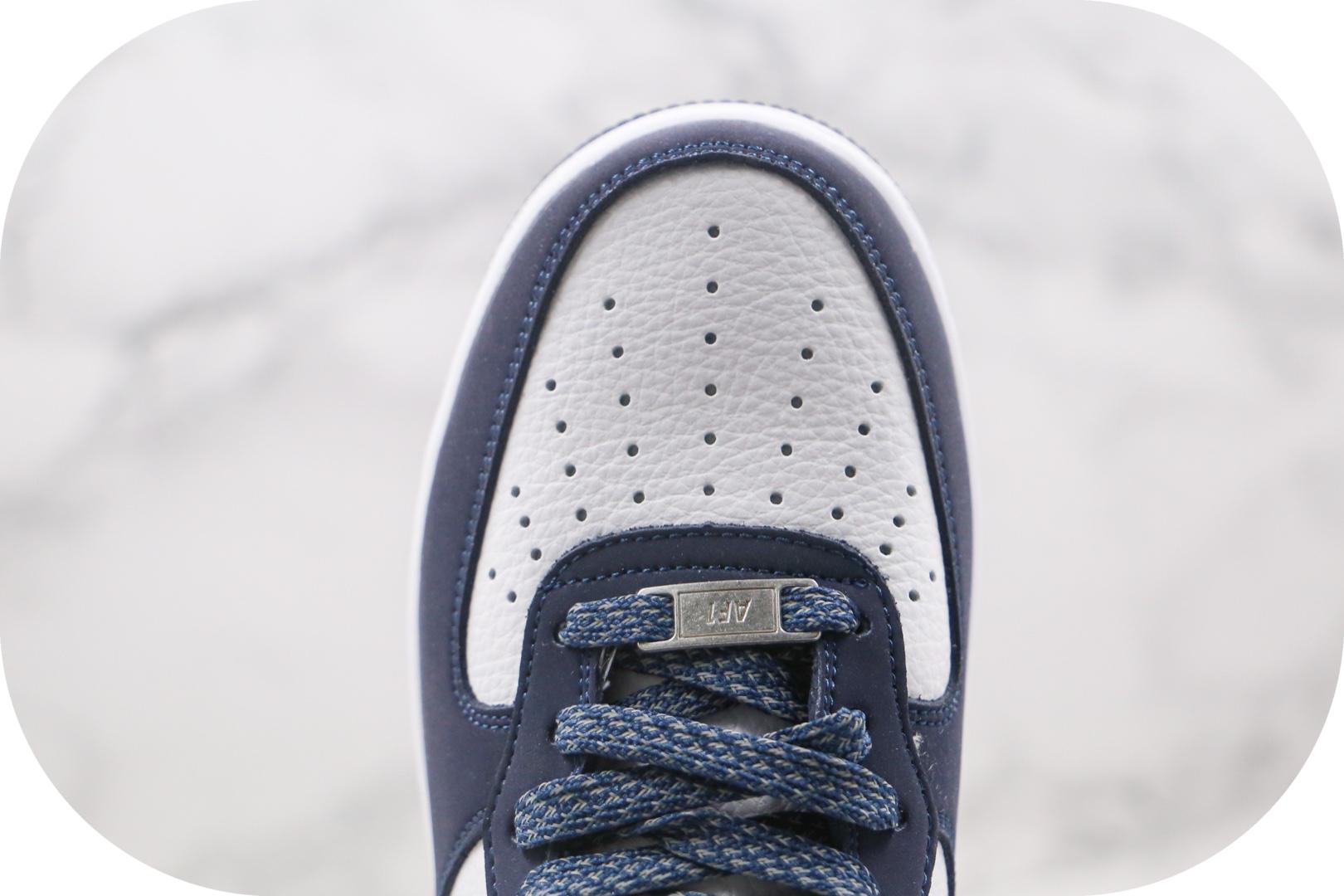 耐克Nike Air Force 1 07纯原版本中帮空军一号海军蓝板鞋内置全掌Sole气垫 货号:AQ2263-115