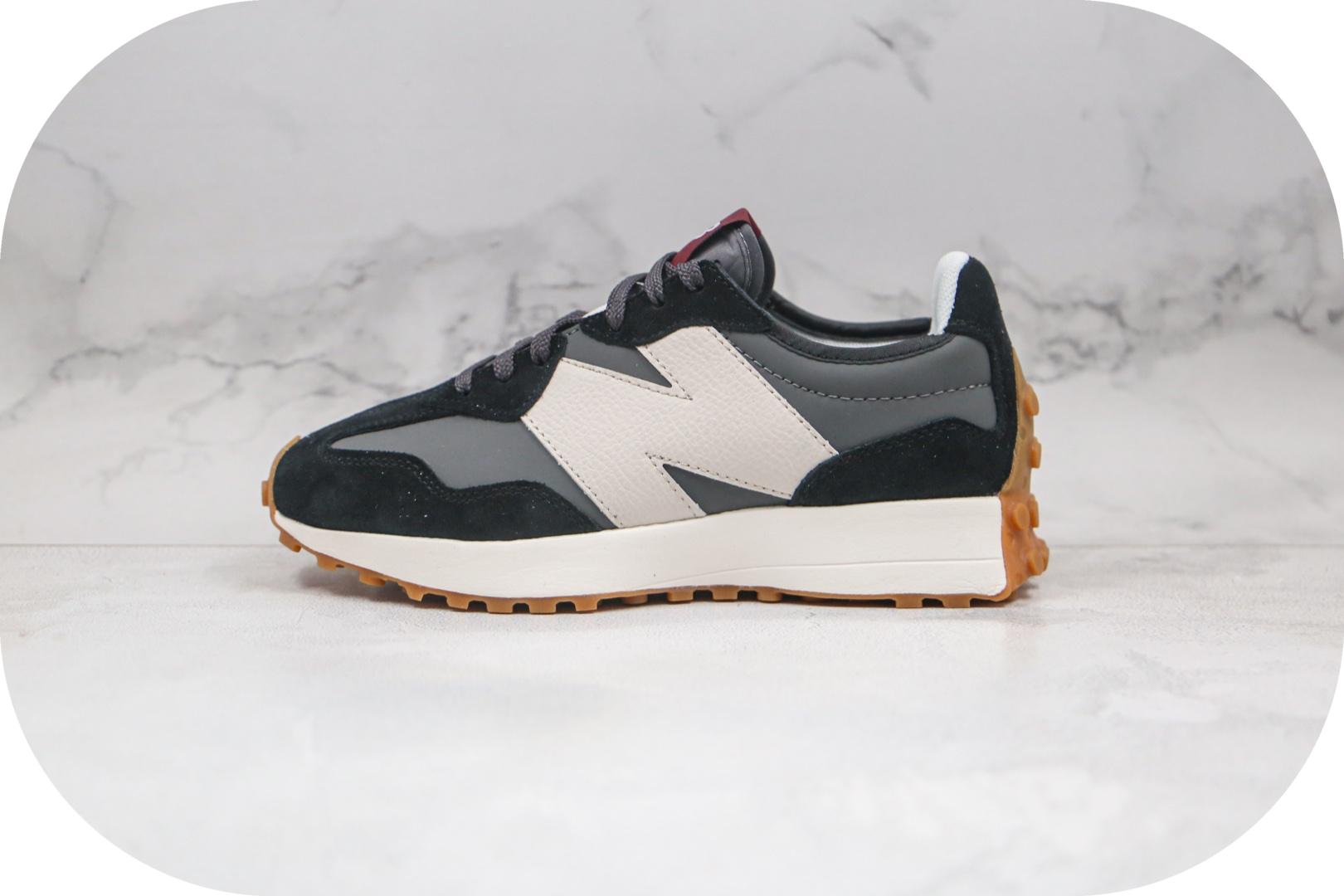 新百伦New Balance 327纯原版本复古慢跑鞋NB327皮面白黑色原盒原标原楦头纸板打造 货号:WS327KC