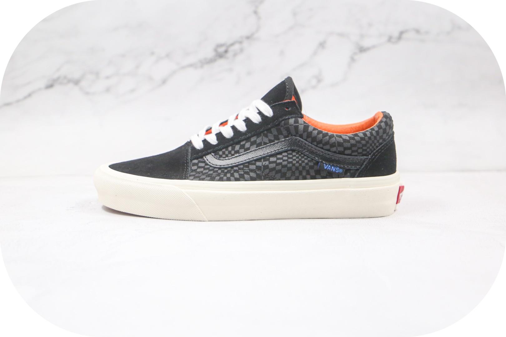 万斯Vans Vault Sidestripe公司级版本低帮夏威夷魔术贴黑色印花棋盘格图案板鞋原楦头纸板打造