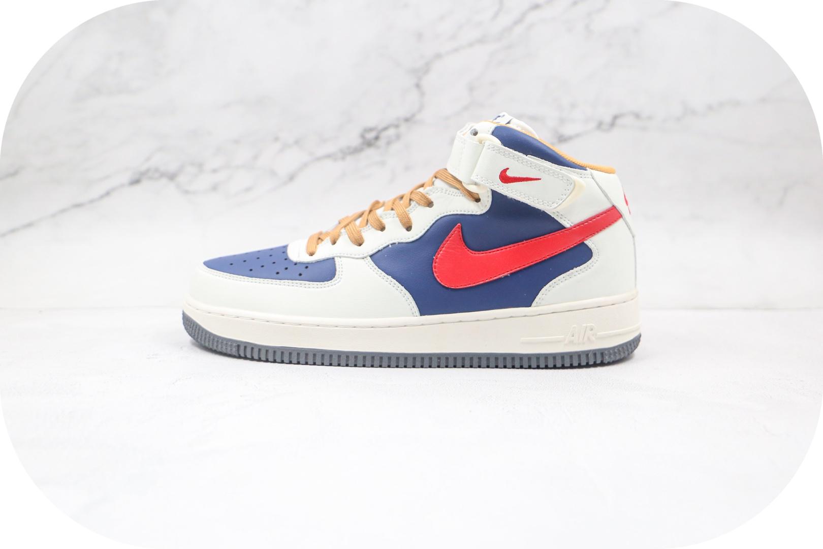 耐克Nike Air Force 1'07 Mid纯原版本中帮空军一号白蓝红色板鞋内置全掌Sole气垫 货号:512745-068封面