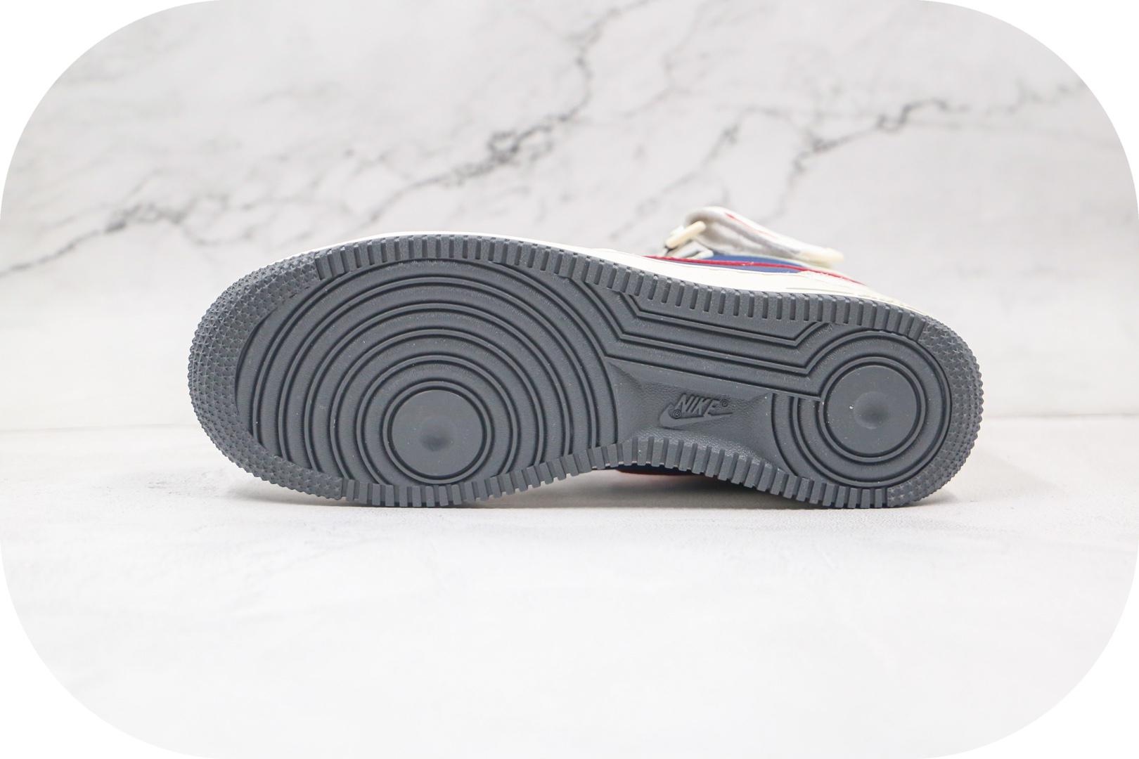耐克Nike Air Force 1'07 Mid纯原版本中帮空军一号白蓝红色板鞋内置全掌Sole气垫 货号:512745-068