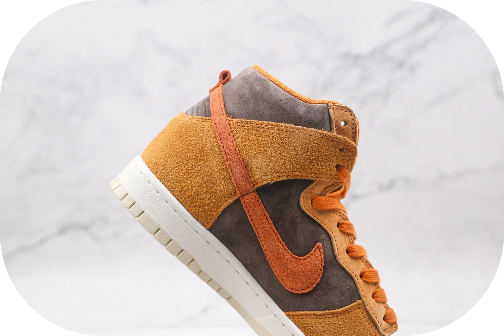 耐克Nike Dunk High Dark Curry纯原版本高帮DUNK黑咖喱麂皮黄褐色板鞋原盒原标 货号:DD1401-200