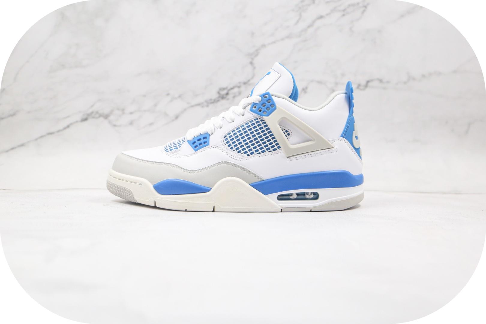 乔丹Air Jordan 4纯原版本高帮AJ4白蓝配色篮球鞋正确鞋面头层皮革原盒原标 货号:308497-105封面