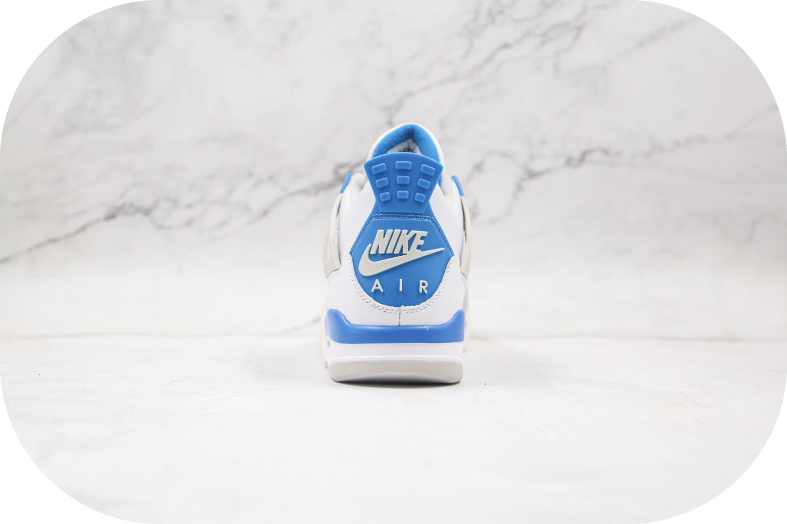 乔丹Air Jordan 4纯原版本高帮AJ4白蓝配色篮球鞋正确鞋面头层皮革原盒原标 货号:308497-105