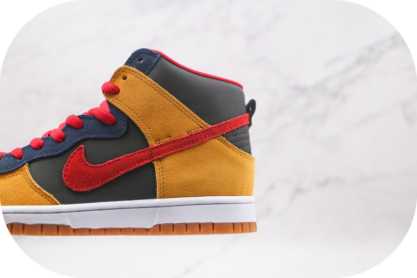 耐克Nike Dunk SB High纯原版本高帮SB DUNK帕帕熊黑黄红蓝色板鞋原楦头纸板打造 货号:313171-400