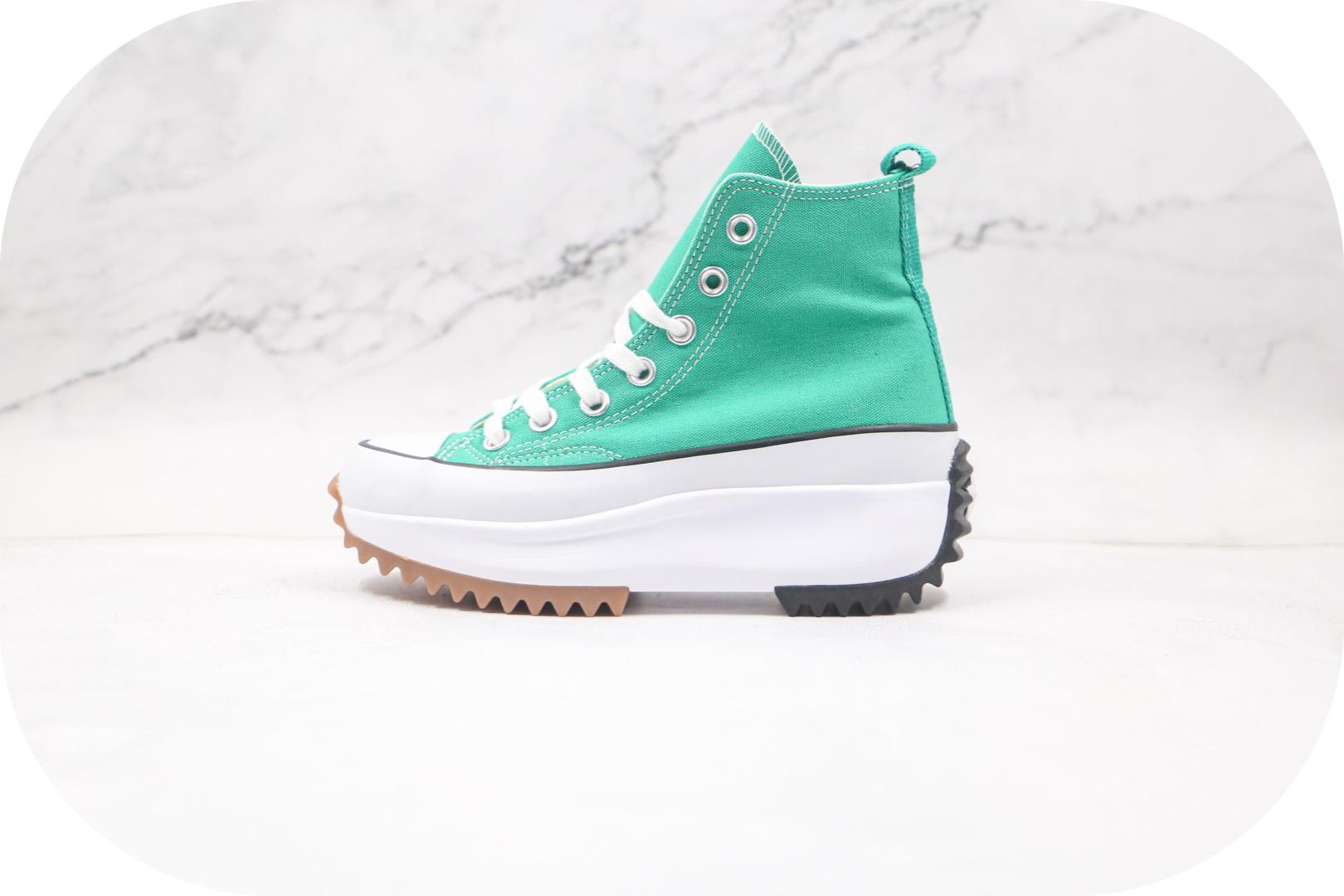 匡威Converse Run Star x JW Anderson联名款公司级版本厚底锯齿高帮绿色帆布鞋原厂硫化工艺