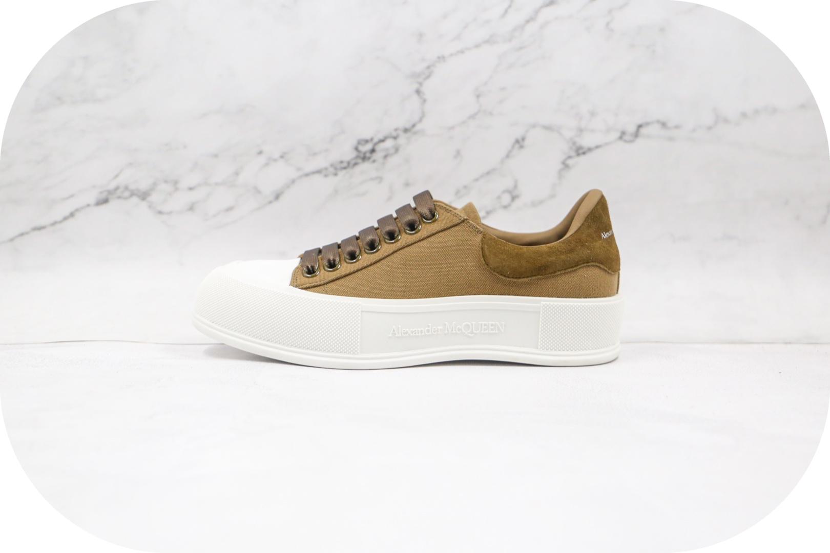亚历山大Alexander McQueen sole sneakers麦昆贝壳头棕色板鞋纯原版本原盒原标