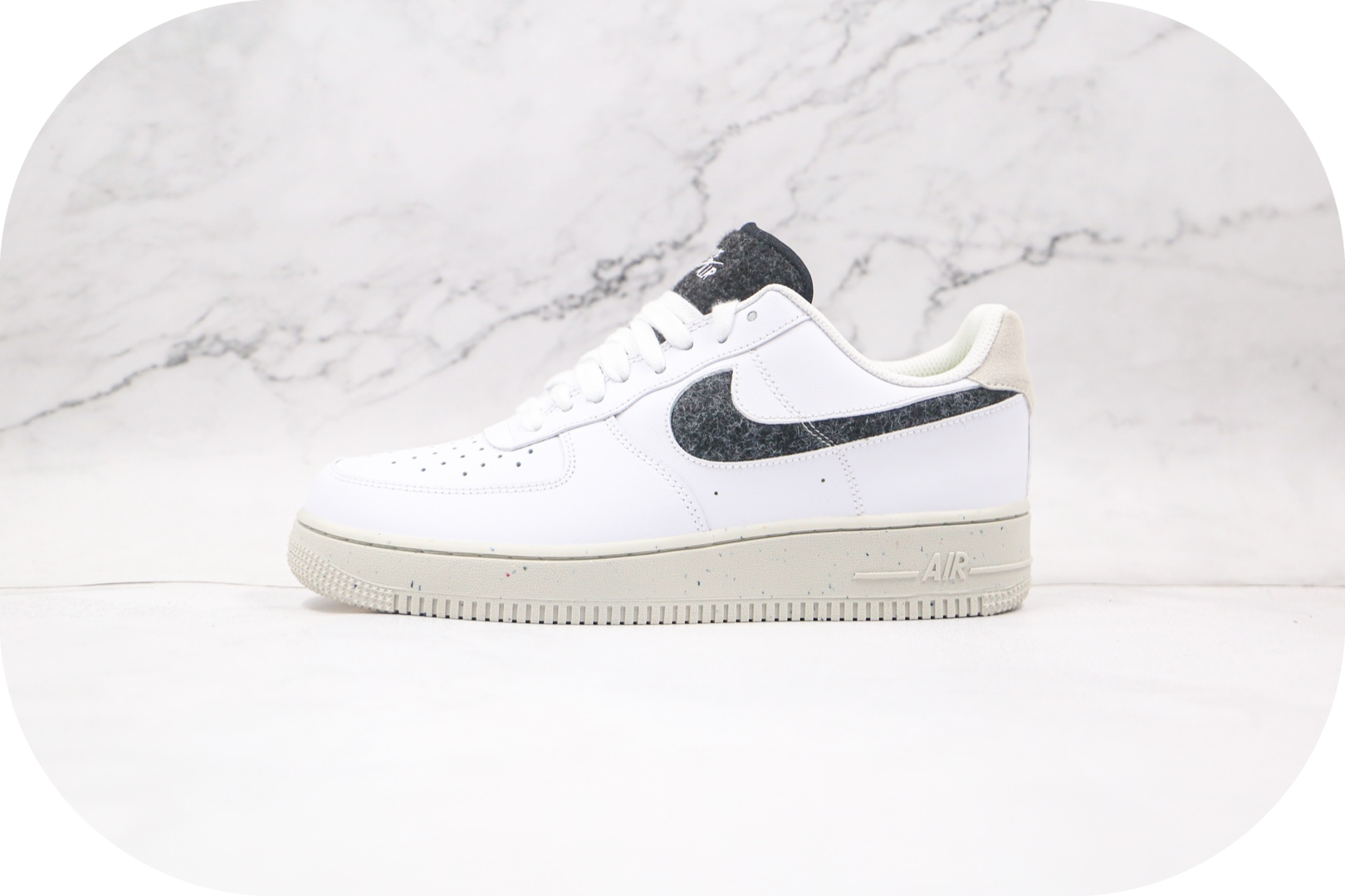 耐克Nike Air Force 1 Low纯原版本低帮空军一号白黑羊毛阴阳骨白板鞋内置全掌Sole气垫 货号:DA6682-100