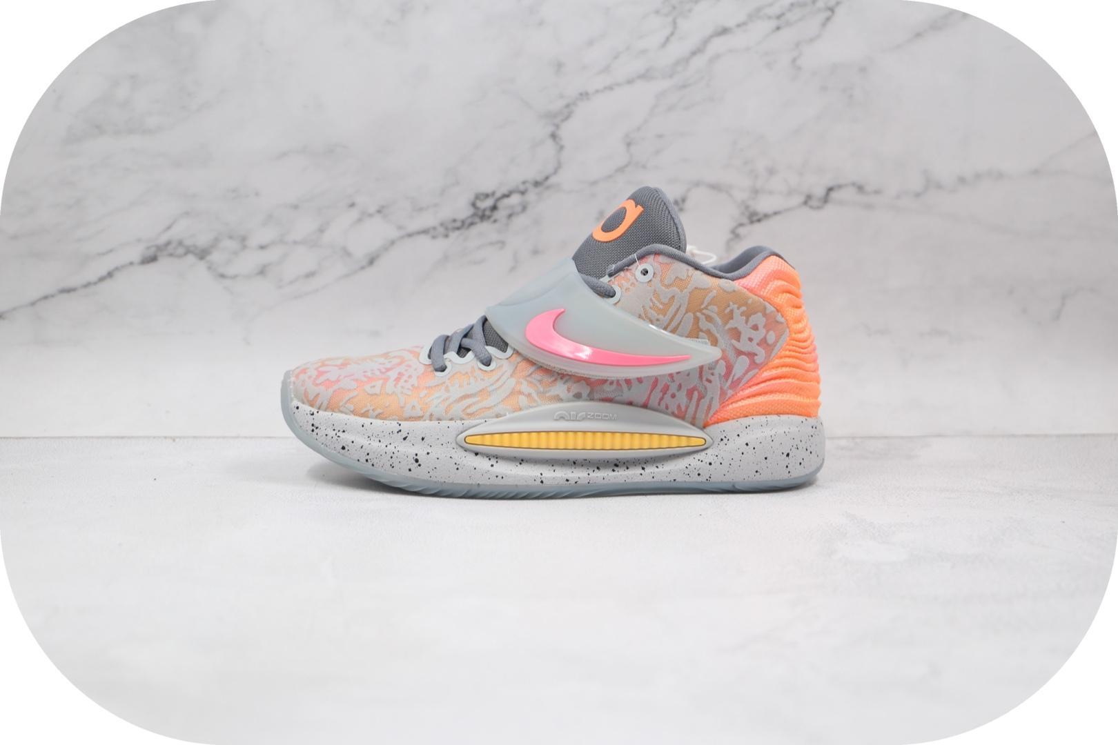 耐克Nike Zoom KD 14纯原版本杜兰特14代灰粉色篮球鞋内置气垫支持实战 货号:CZ0170-600