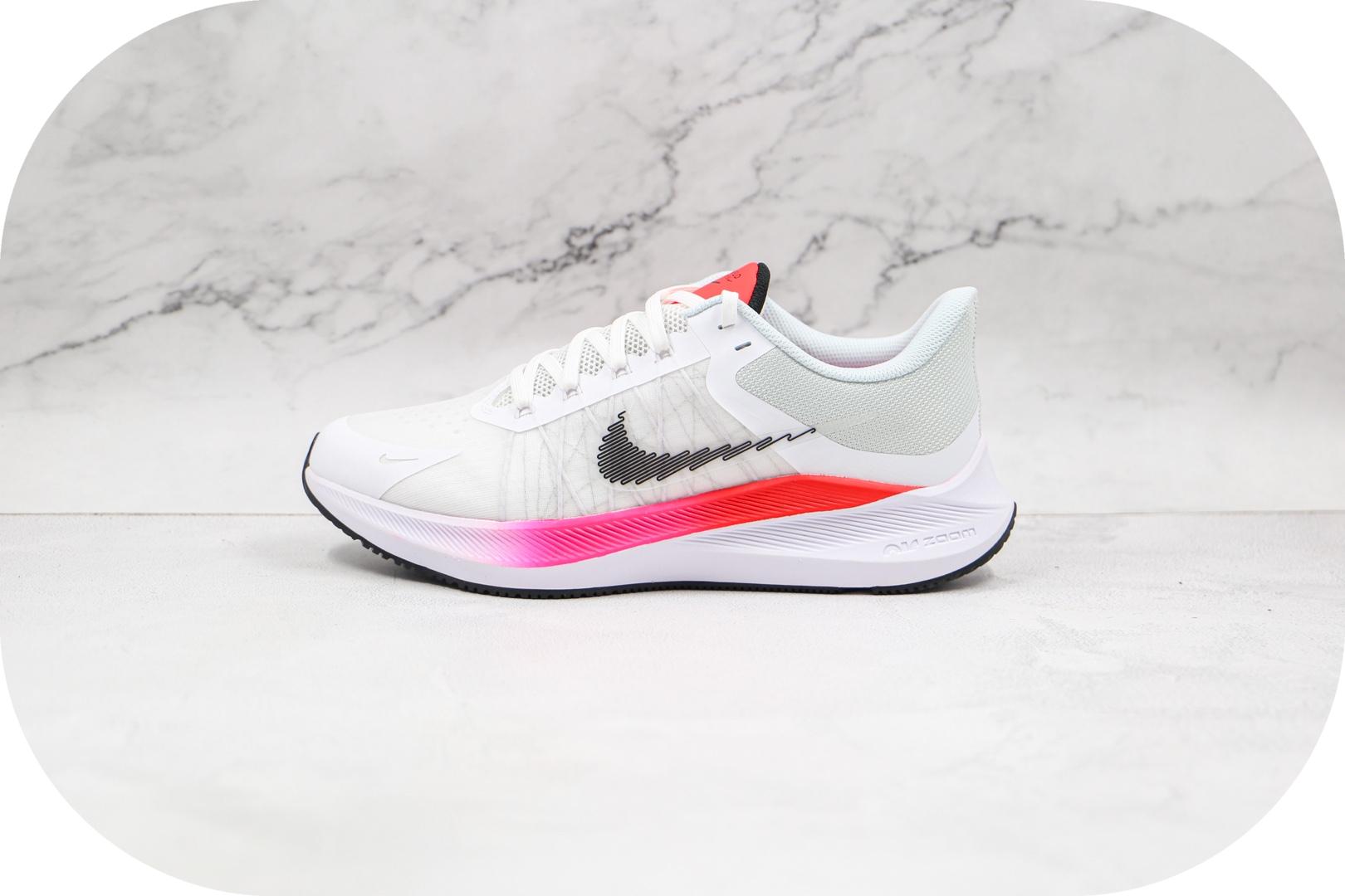 耐克Nike Zoom Winflo 8纯原版本温弗罗八代白粉色线条慢跑鞋原档案数据开发 货号:CW3419-100