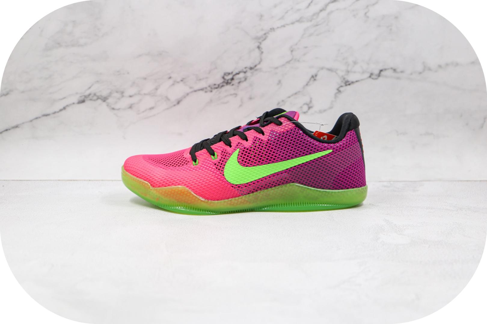 耐克Nike Kobe 11 E纯原版本科比11刺客绿紫色篮球鞋网面运动鞋支持实战 货号:836184-635