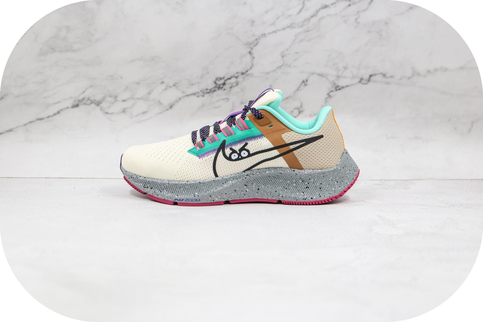 耐克Nike Air Zoom Pegasus 38纯原版本登月38代米黄绿色卡通钩慢跑鞋原楦头纸板打造 货号:DO2337-100