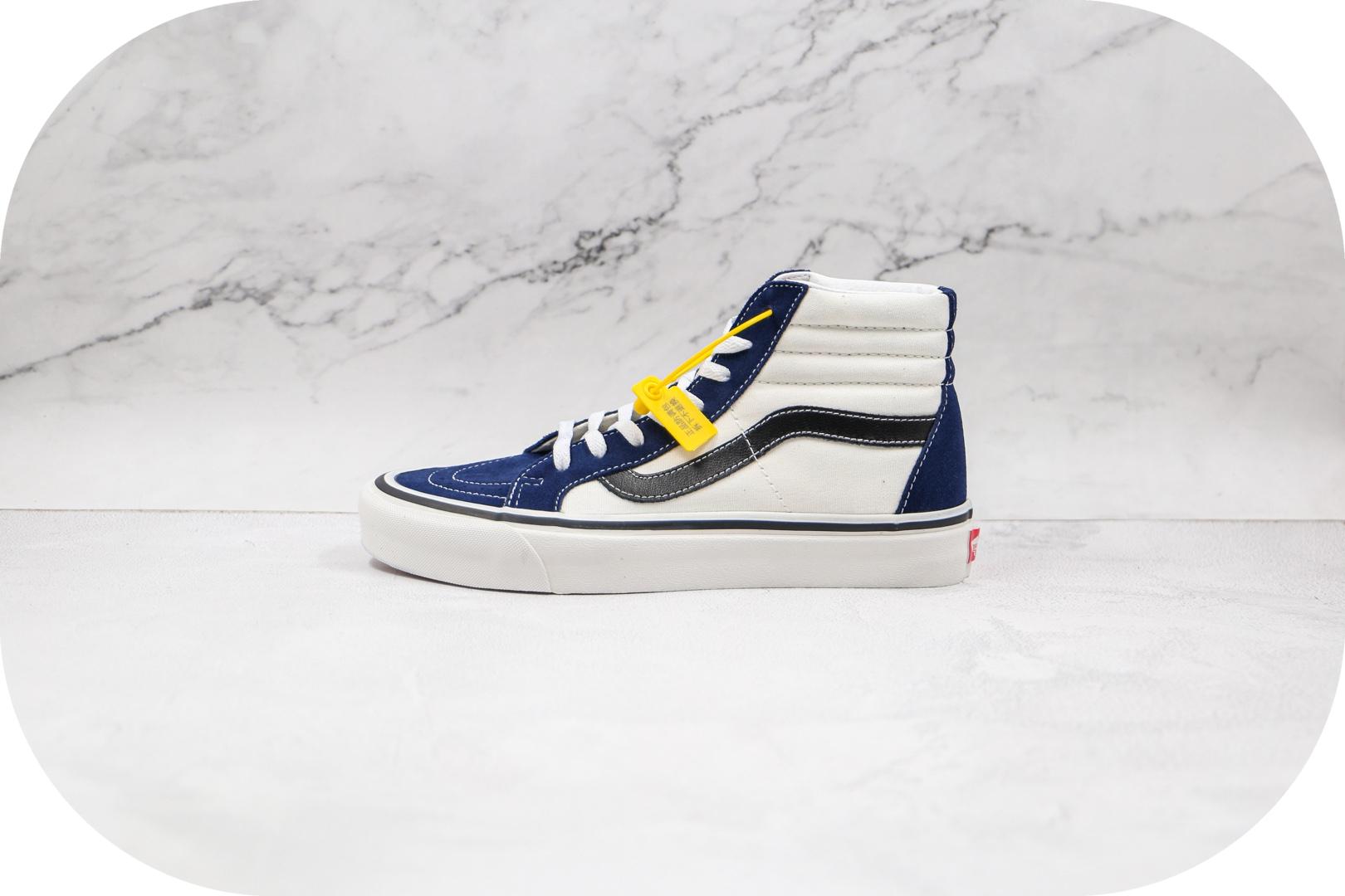 万斯Vans SK8-Hi公司级版本安纳海姆系列拼色高帮硫化板鞋蓝白色工艺硫化一比一 货号:VNOA38GF4UJ