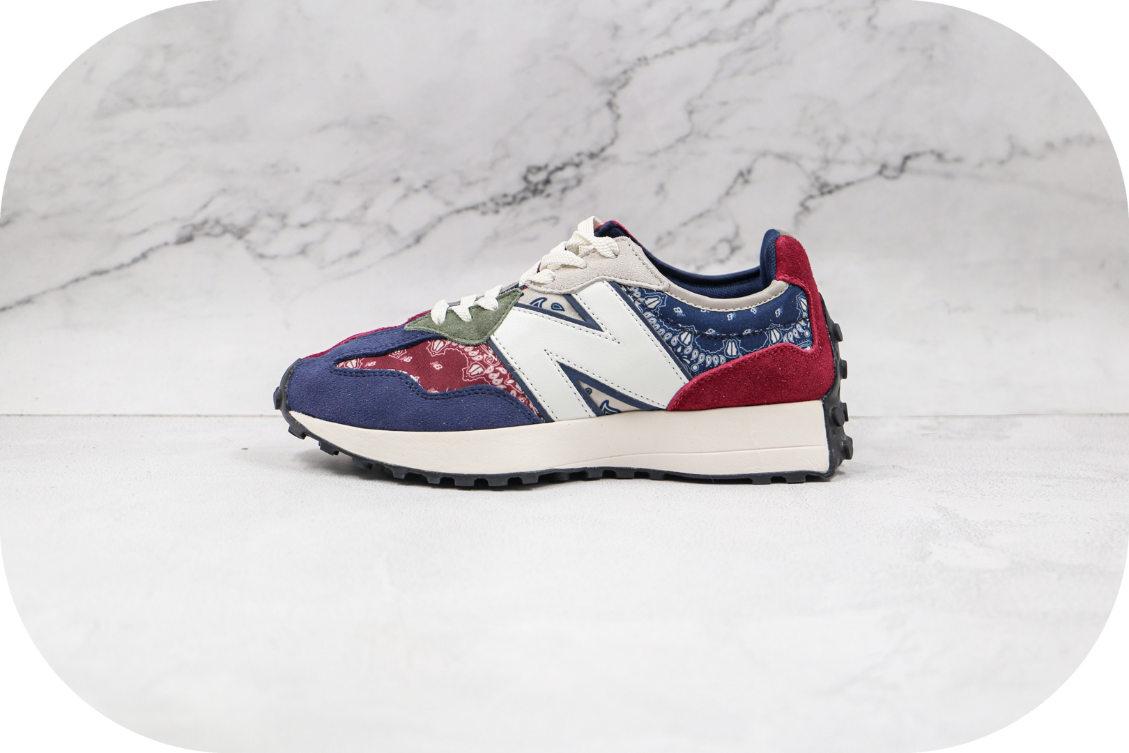 新百伦New Balance 327纯原版本复古红蓝绿色青花瓷不规则NB327慢跑鞋原楦头纸板打造 货号:MS327DWU