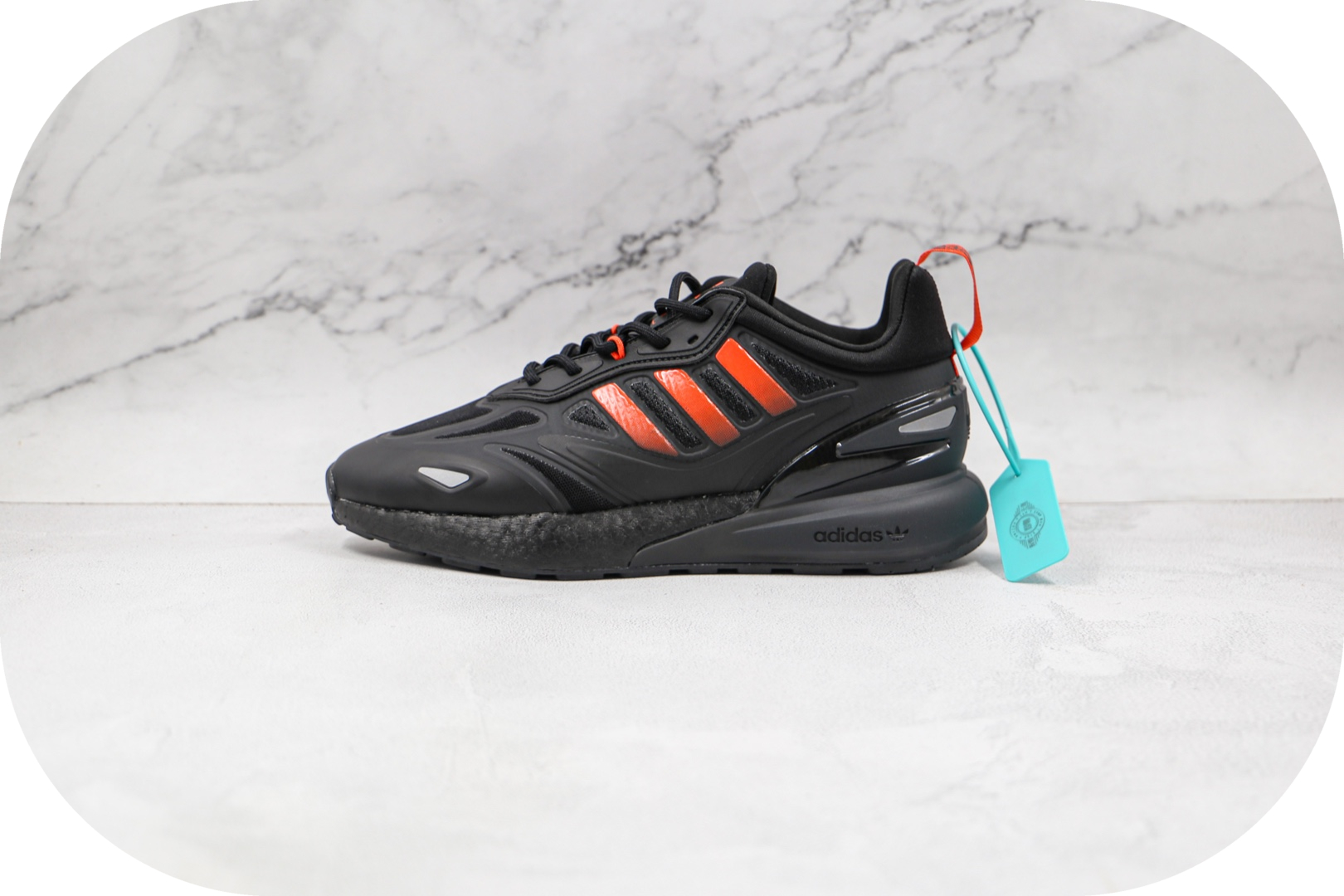 阿迪达斯Adidas Originals ZX 2K Boost 2.0纯原版本爆米花ZX 2K黑桔红色跑鞋原盒原标 货号:GZ9087