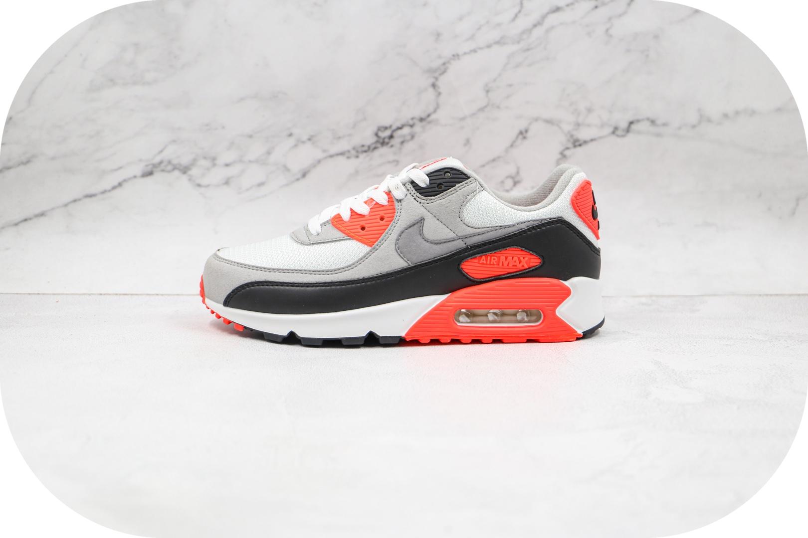 耐克Nike Air Max 90 Infrared纯原版本元年红外线Max90灰黑红色气垫鞋原鞋开模一比一打造 货号:CT1685-100