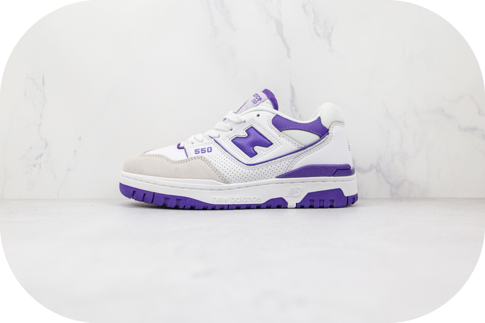 新百伦New Balance BB550纯原版本复古NB550白紫色板鞋原档案数据开发 货号:BB550WR1
