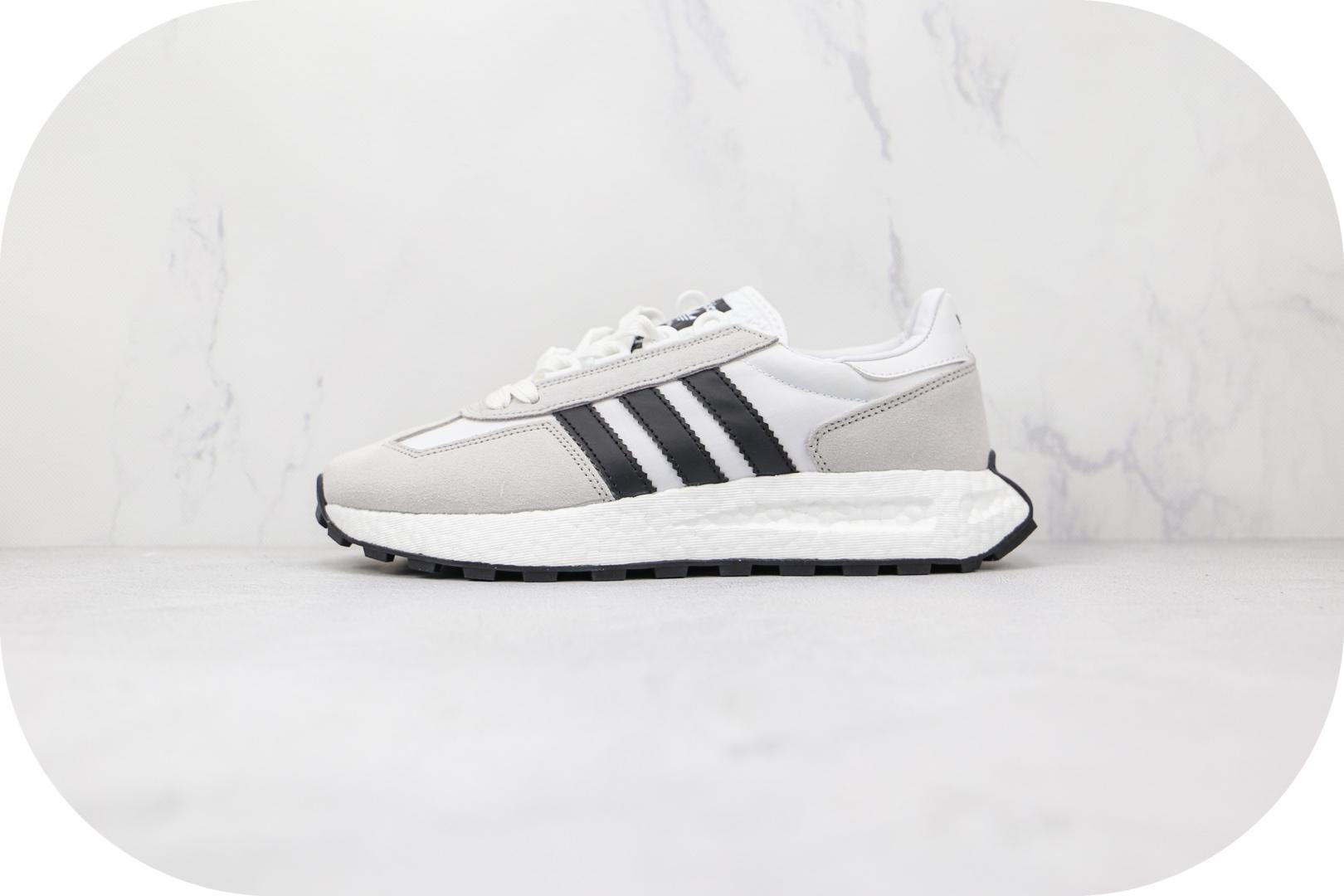阿迪达斯Adidas RETROPY E5纯原版本黑白色三叶草厚底爆米花跑鞋原楦头纸板打造 货号:Q47001