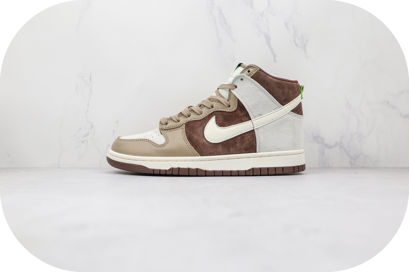 耐克Nike Dunk High Light Chocolate纯原版本高帮DUNK灰褐色巧克力板鞋原楦头纸板打造 货号:DH5348-100