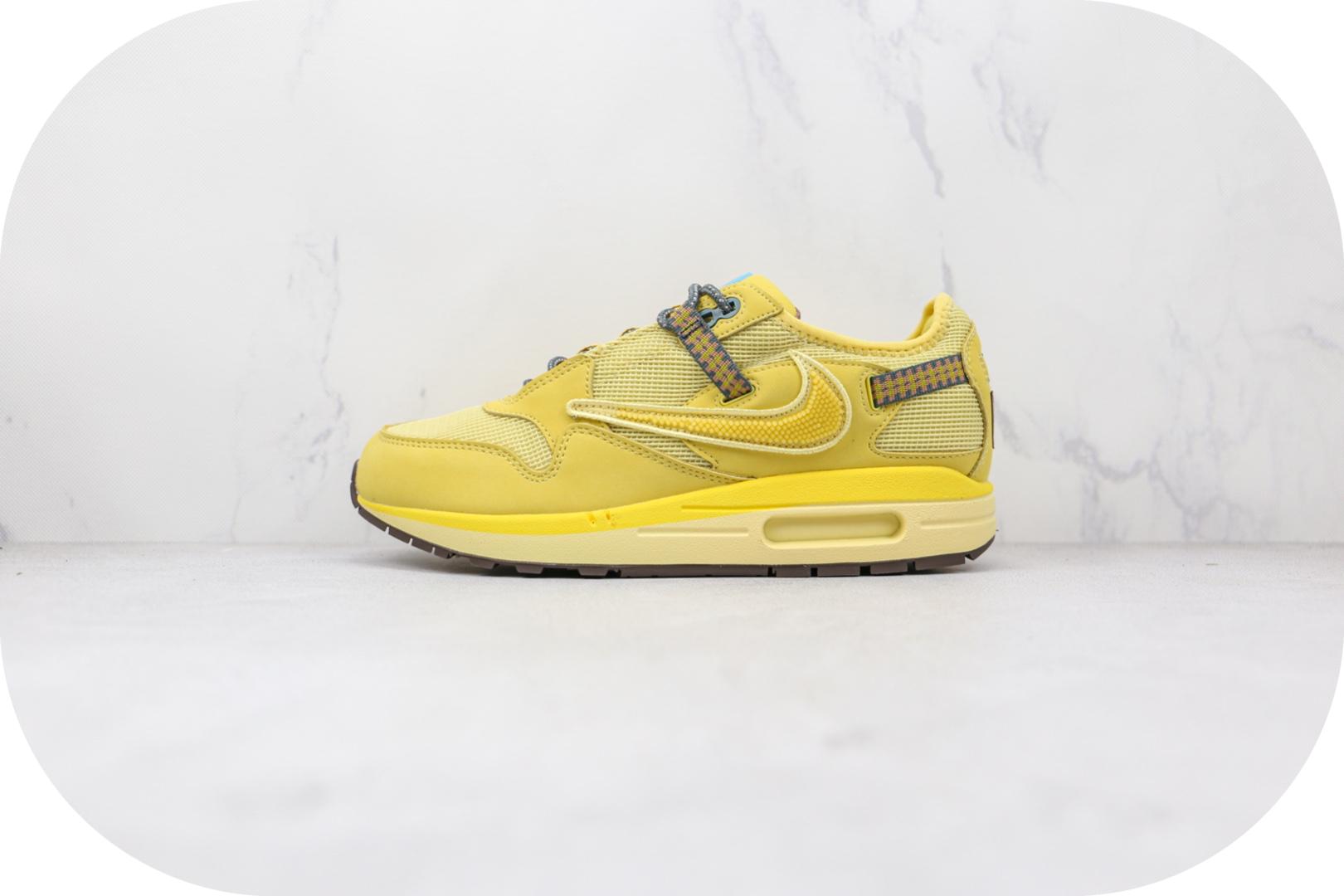 耐克Nike Air Max 1 Cactus Jack x Travis Scott联名款纯原版本柠檬黄色倒勾Max1气垫鞋原楦头纸板打造 货号:DO9392-700