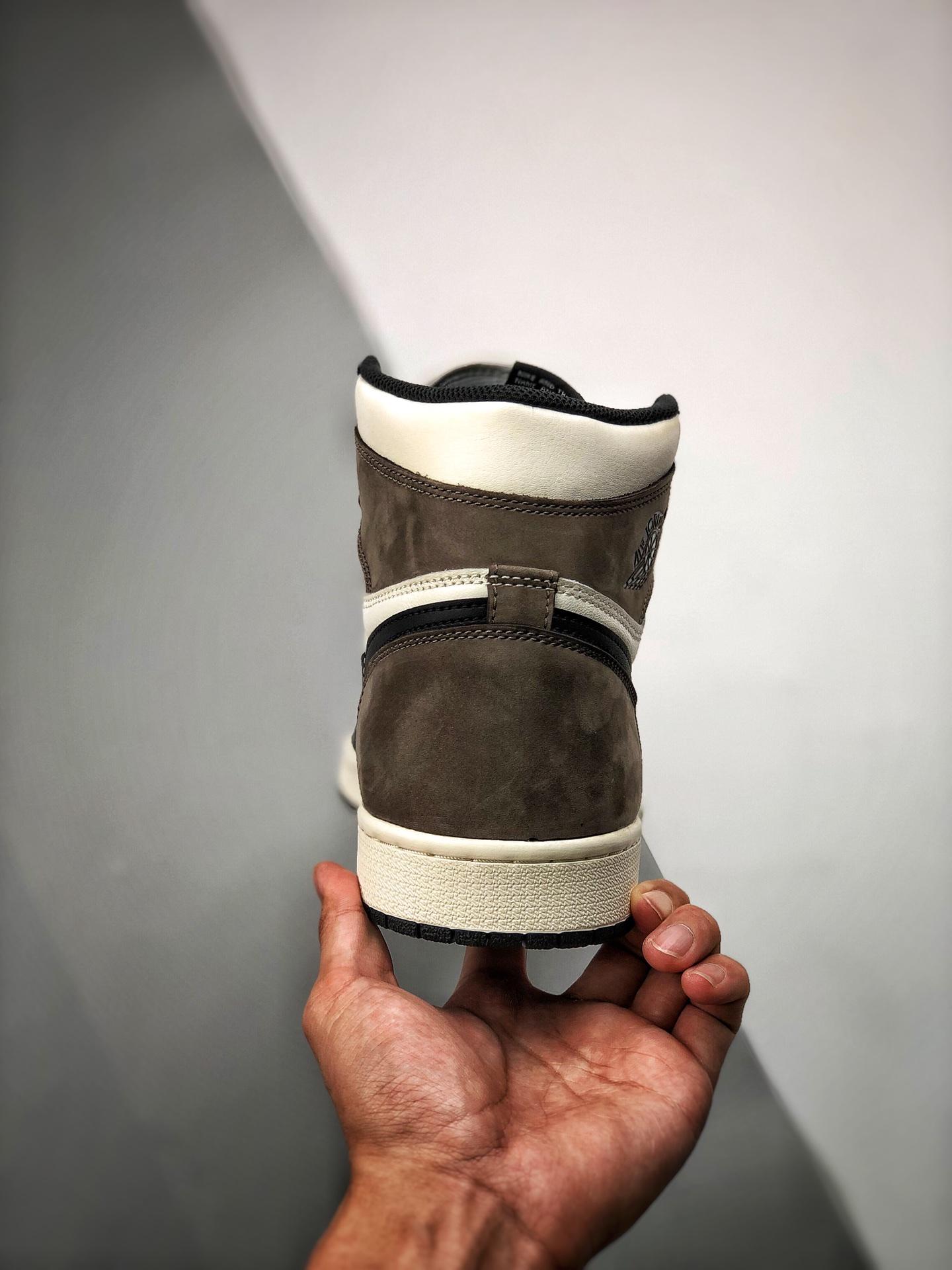 "S2纯原高帮 Air Jordan 1 Retro ""Dark Mocha"" 小倒钩/摩卡咖啡色 货号555088-105_河源裸鞋怎么拿"