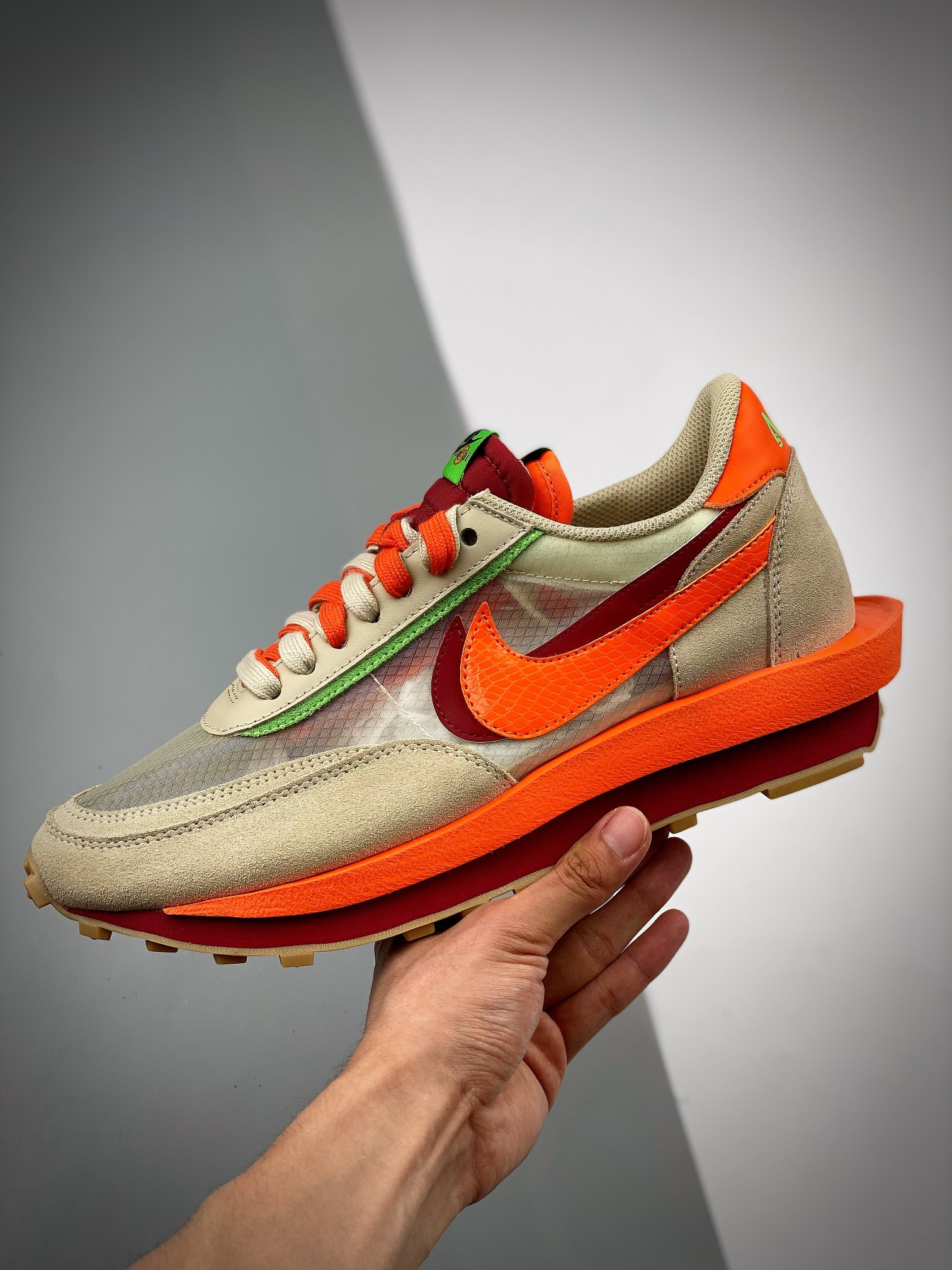 "S2纯原版本 CLOT x Sacai x NK LDWaffle ""Net Orange Blaze"" 联名重叠设计前卫华夫变形""米橙配色""休闲慢跑鞋 DH1"