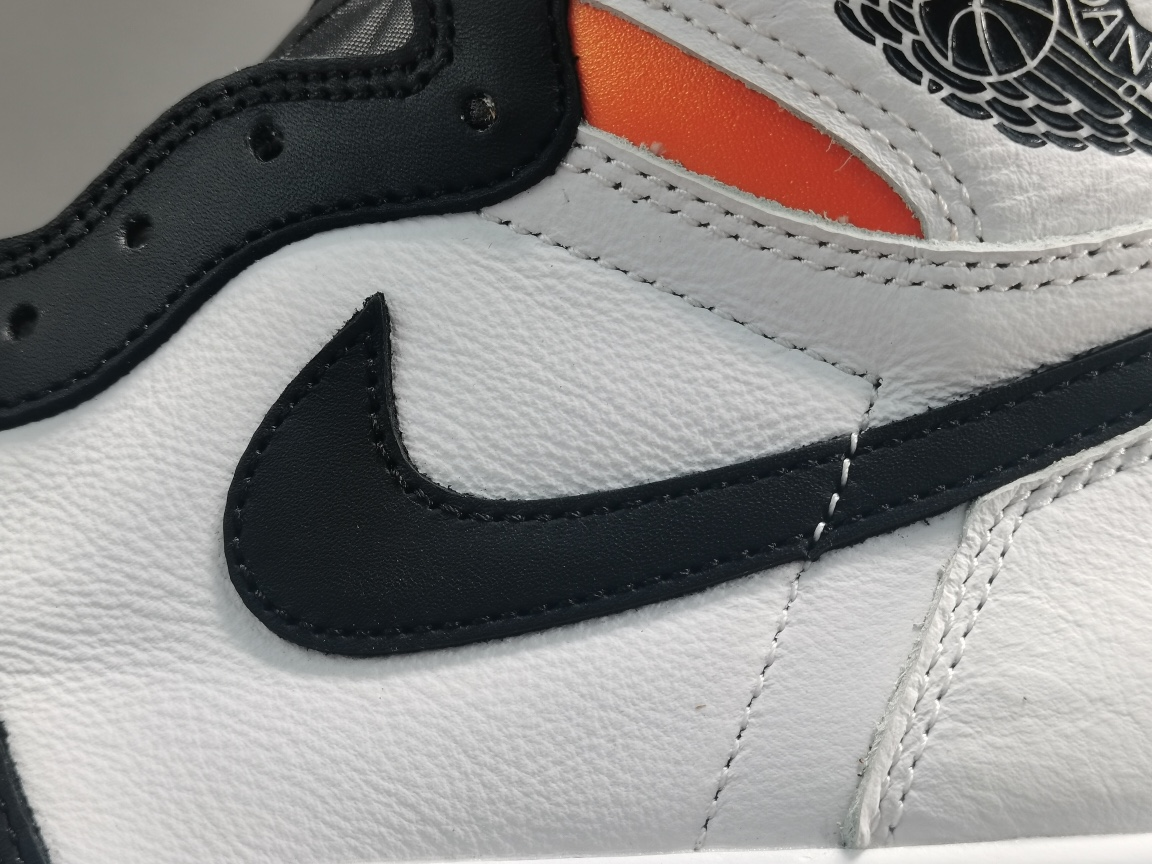 "OG版_AJ1黑白橙 扣碎 Air Jordan 1  Retro High OG ""Electro Orange""货号:555088-180_椰子白满天星og"