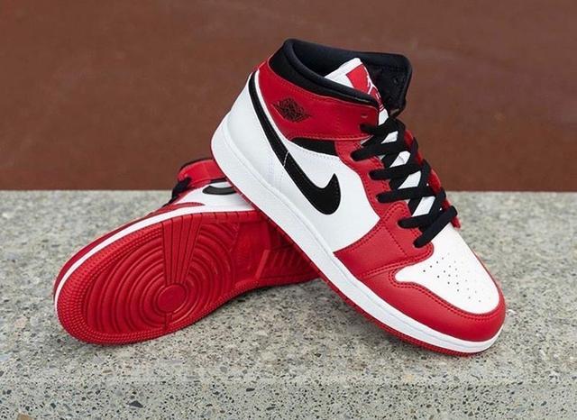 "Air Jordan 1 Mid GS ""Gym Red"" 小芝加哥 货号:554725-173_东莞aj"