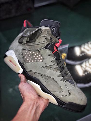 """Travis Scott x Air Jordan 6 """"Medium Olive' TS联名口袋军绿鬼脸_aj熊猫s2纯原"""