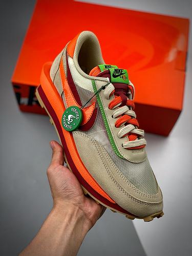 "S2纯原版本 CLOT x Sacai x NK LDWaffle ""Net Orange Blaze"" 联名重叠设计前卫华夫变形""米橙配色""休闲慢跑鞋 DH1347-100_y3是莆田还是东莞"