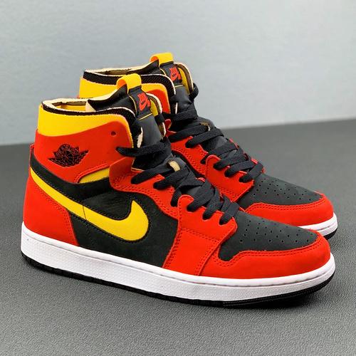 "AJ1 高帮 黑红色 黄勾 解构 货号:CT0978-006 Air Jordan 1 Zoom Comfort""Chile Red""解构红黄_河源裸鞋是什么意思"