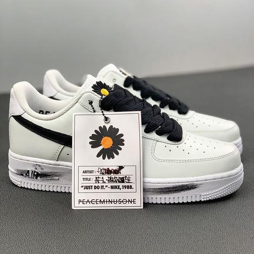 "PEACEMINL JSONE X Nike Air Force 1 ""Para- -Noise 2.0""黑白反系鞋带小雏菊 权志龙2.0_河源裸鞋在哪买"