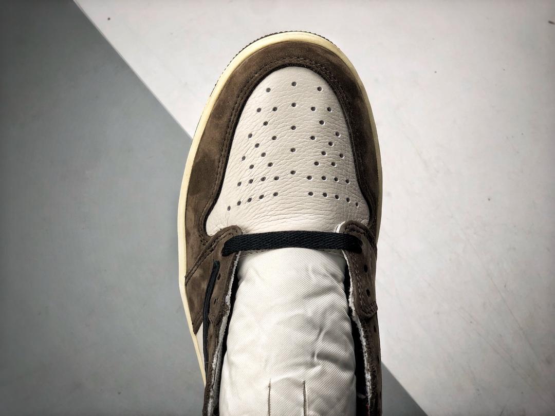 S2纯原高帮 Travis Scott X Air Jordan 1 倒钩 反勾深棕白配色 CD4487-100_郴州河源裸鞋
