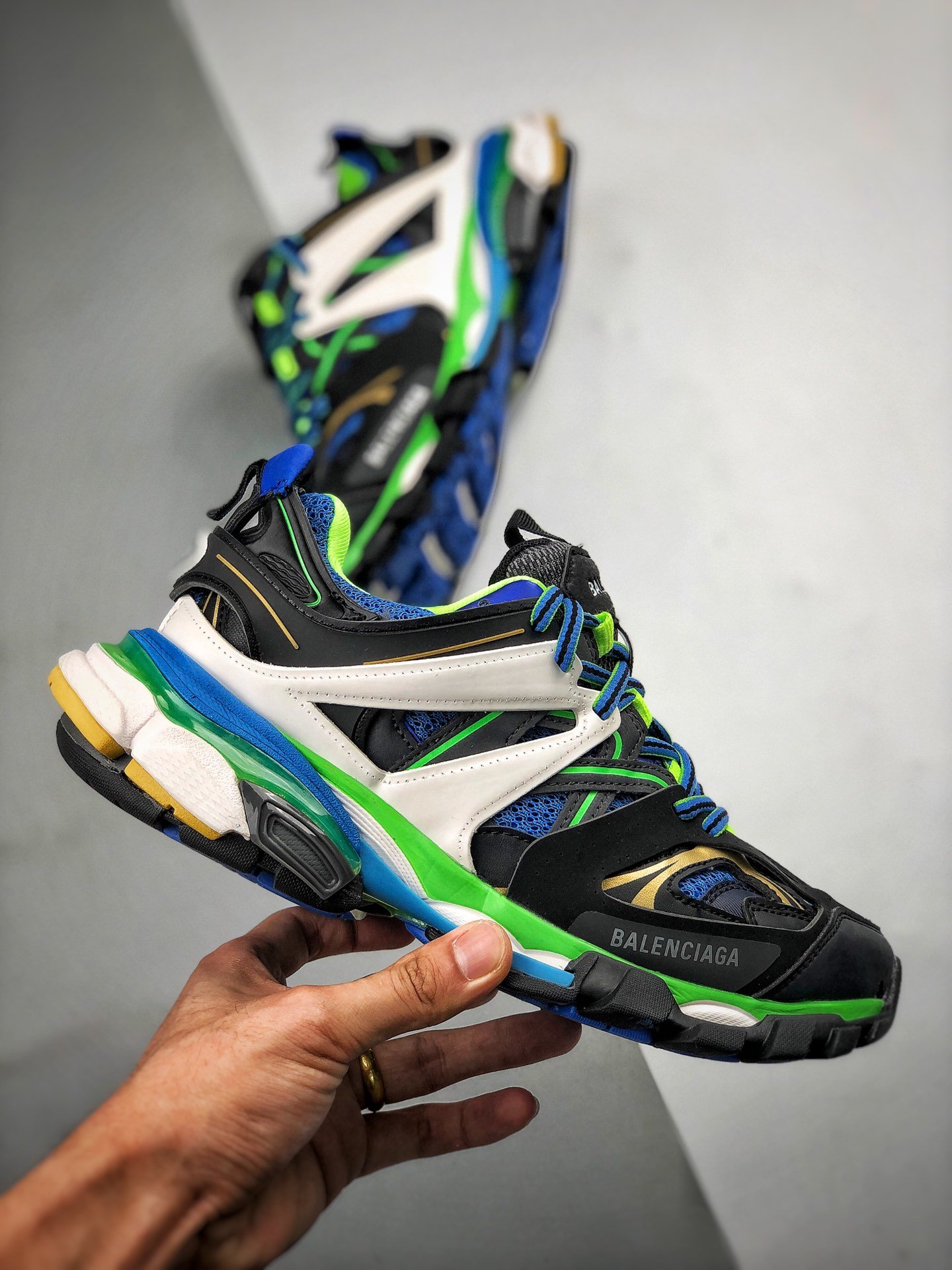 S2纯原巴黎世家-Balenciaga 3.0 Sneaker Tess.s. Gomma MAILLE 黑绿 原版原_s2纯原yeezy500