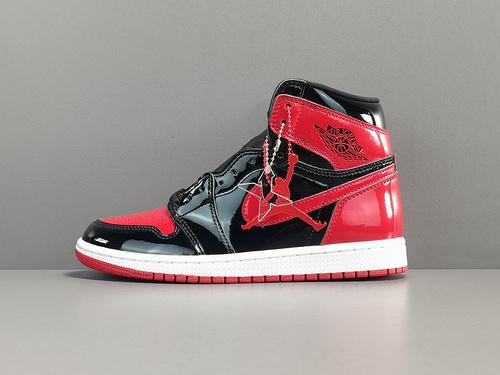 "X版_AJ1 黑红 Air Jordan 1  High OG""Bred Patent"" 货号:555088-063"